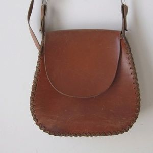 VINTAGE Handmade Leather Bag Crossbody Stitched